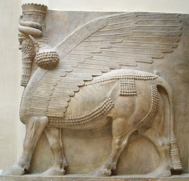 Bearded lamassu (mythological winged bull)
