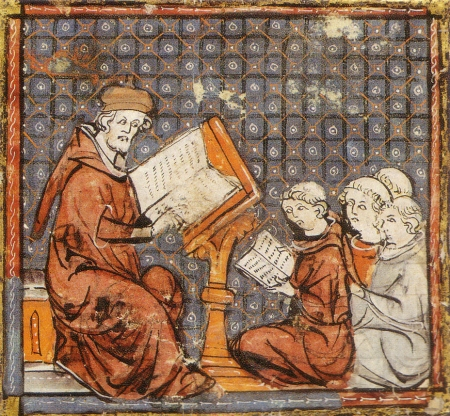 eaching at Paris, in a late 14th-century Grandes Chroniques de France: the tonsured students sit on the floor
