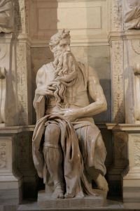 Art and Liturgy - Michelangelo's Moses with horns - marble sculpture inside St. Peter in Chains church