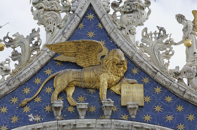 Art and Liturgy - Winged Lion West Facade St Mark basilica Venice Italy