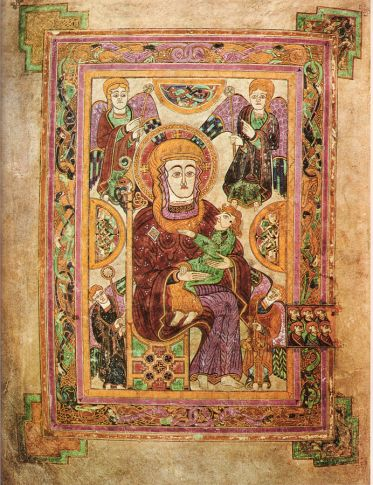 Marian illumination in the Book of Kells. This is the earliest known depiction of Mary in a Western manuscript.