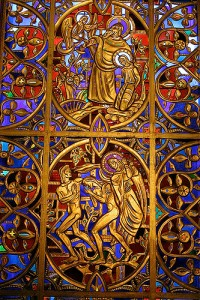 Art and Liturgy - Willet Hauser Sculptured Gold Stained Glass Window - Mountain Brook Baptist Birmingham Alabama