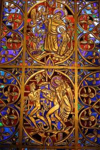 Art and Liturgy - Willet Hauser Sculptured Gold Stained Glass Window - Mountain Brook Baptist Birmingham Alabama