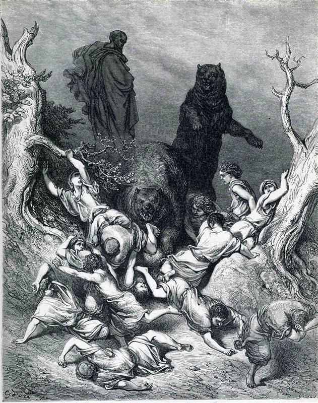 Art and Liturgy - The Children Destroyed by Bears - Gustave Dore 1866 Engraving
