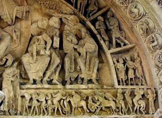 Detail from right side of tympanum at Vezelay. By Vassil - Own work, Public Domain, https://commons.wikimedia.org/w/index.php?curid=4349074