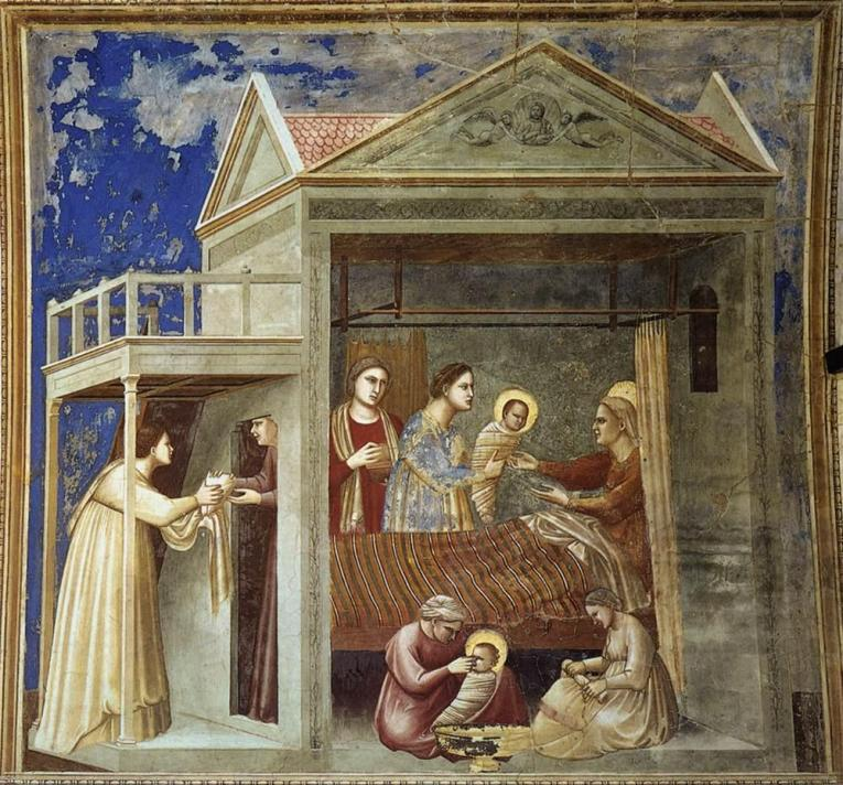 Birth of the Virgin by Giotto di Bondone, c. 1300, fresco.