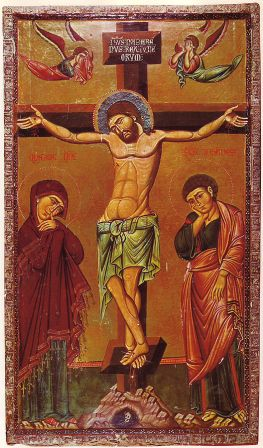13th century icon of the Crucifixion in a very Byzantine style. (The emotion of the angels hints that it may be the work of a western painter, possibly Venetian)