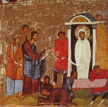 Early 12th century icon of resurrection of Lazarus.