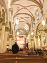 The nave looking toward the apse. The colors are at least 50% more vibrant in reality but the lighting was difficult.