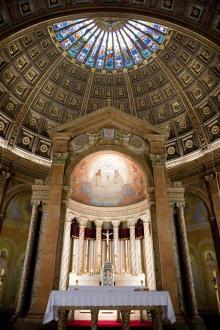Blessed Trinity Church (Buffalo, NY). Sanctuary and baldachin. Photo by Jessica Ehrens.