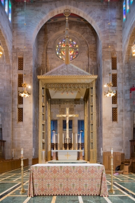 Cathedral of Mary our Queen (Baltimore, MD). Sanctuary and baldachin. Photo by James Rosenthal, provided by parish.