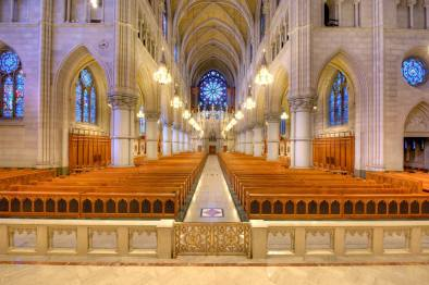 Cathedral of the Sacred Heart (Newark, NJ). Nave looking toward rear. By Bestbudbrian - Own work, CC BY-SA 4.0, Link