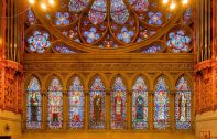 Cathedral of the Sacred Heart (Newark, NJ). Great Rose Window and lancets with saints. By Bestbudbrian - Own work, CC BY-SA 4.0, Link