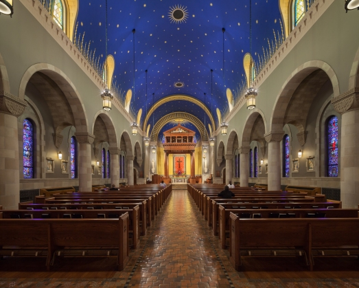 Kenrick-Glennon Seminary's Chapel of St. Joseph (St. Louis, MO). Interior vista. Photo by Sam Fentress, provided by seminary.