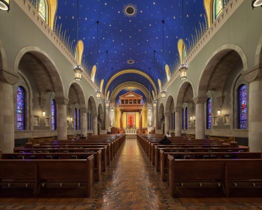 Kenrick-Glennon Seminary's Chapel of St. Joseph (St. Louis, MO). Interior vista. Photo by Sam Fentress, provided by seminary.
