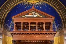 Kenrick-Glennon Seminary's Chapel of St. Joseph (St. Louis, MO). Detail of baldachin depicting death of St. Joseph. Photo by Sam Fentress, provided by seminary.