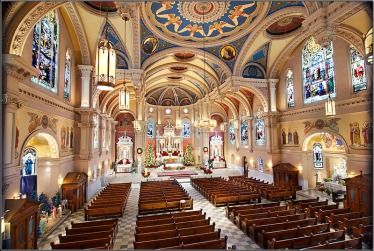 St. Bernard Church (Akron, OH). Interior vista. Photo from parish website.