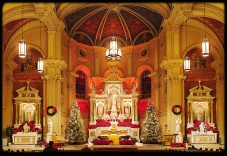 St. Bernard Church (Akron, OH). Sanctuary during Christmastide. Photo from parish website.