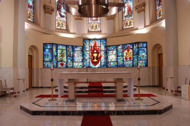 Shrine of St. Joseph the Worker (Lowell, MA). Sanctuary and altar. Photo from parish website.
