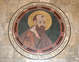 St. Paul Church (Nampa, ID). Mosaic of St. Paul in nave floor. Photo provided by parish.