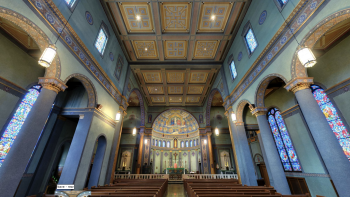 Holy Family Church (Dayton, OH). Interior vista. Photo is a screenshot from the virtual tour on parish website.