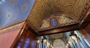 Holy Family Church (Dayton, OH). Narthex entrance. Photo is a screenshot from the virtual tour on parish website.