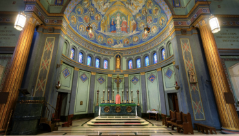 Holy Family Church (Dayton, OH). Sanctuary and altar. Photo is a screenshot from the virtual tour on parish website.