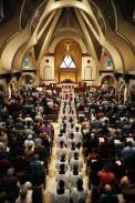 Holy Trinity Church (Gainesville, VA). Procession at Holy Thursday Mass. Photo provided by parishioner Geraldine Erikson.