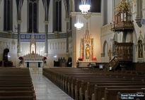 St. John the Evangelist Church (Indianapolis, IN). Interior vista, side altars, ambo. Photo graciously supplied by the inestimable Roamin' Catholic Churches.