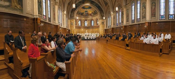 St. John's Seminary Chapel (Boston, MA). Interior vista. Photo from seminary website.