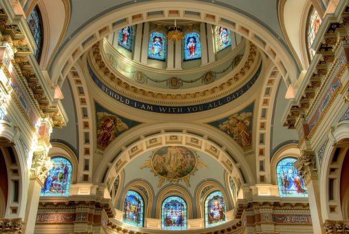 Cathedral of St. Patrick (Harrisburg, PA). Crossing and dome. Photo by Bestbudbrian - Own work, CC BY-SA 3.0, Link