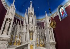 St. Patrick Church (Imogene, IA). Carrara marble high altar. Photo from parish website.