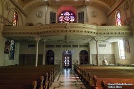 St. Stanislaus Oratory (Milwaukee, WI). Nave toward rear. Photo provided by Roamin' Catholic Churches.