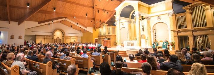 St. Theresa Church (Sugarland, TX). Interior vista during Mass. Photo from parish website.