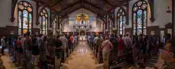 Our Savior Parish/Caruso Catholic Center at USC (Pasadena, CA). Interior view. Photo by Guillermo Luna, provided by parish.