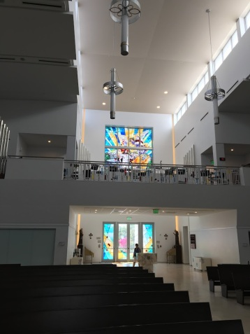 Rear wall with stained glass Ascension — Our Lady of Guadalupe Parish (Doral, FL). Photo by Patrick Murray.