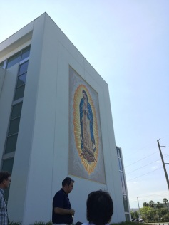Mosaic of the Blessed Virgin facing busy highway —Our Lady of Guadalupe Parish (Doral, FL). Photo by Patrick Murray.