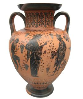 An ancient Greek vase from c. 520 BC depicting Dionysos and Hermes. Photo by User:MatthiasKabel - Own work, CC BY-SA 3.0, Link