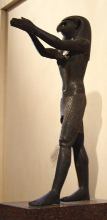 Bronze statue of Egyptian god Horus in Louvre. Photo by Anonymous(Egypt) - © 2003 David Monniaux, CC BY-SA 3.0, Link