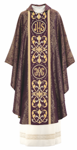 Art and Liturgy - Catholic Liturgical Colors - Purple and Gold Vestment for Advent or Lent - Hand-embroidered chasuble from Granda Liturgical Arts