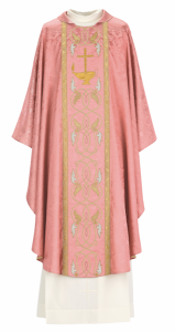 Art and Liturgy - Catholic Liturgical Colors - Rose or Pink Vestment for Gaudete or Laetare Sunday - Hand-embroidered chasuble from Granda Liturgical Arts