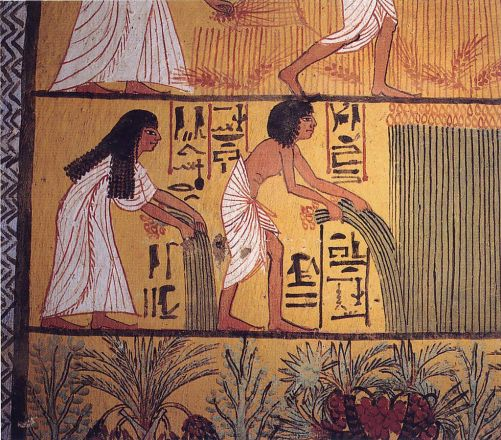 Art and Liturgy - Egyptian Harvest painting on papyrus